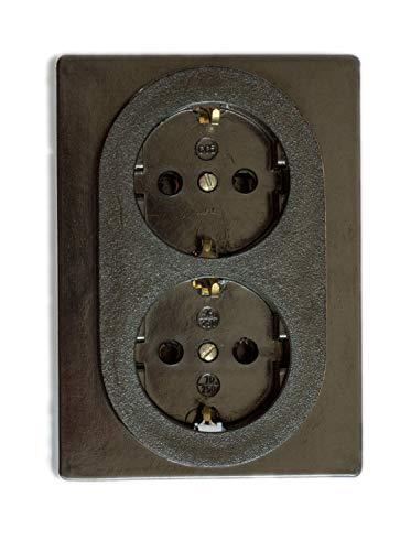 Oude stopcontact-FEST retro -2-voudige 16 A-250 V opbouw-montage-messing dik zwart RETRO bakeliet oud