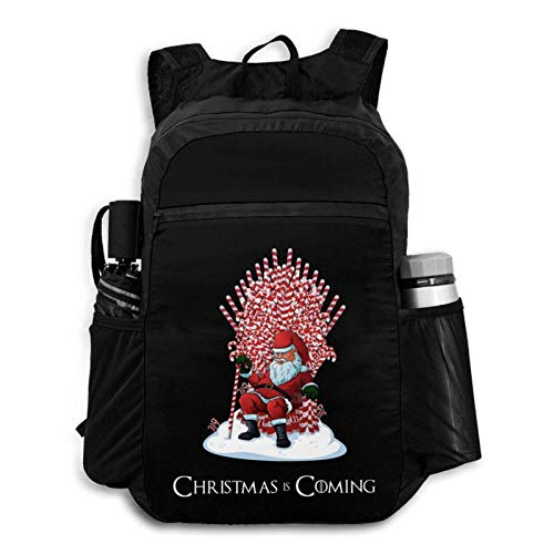 Suyu Stephanie Christmas is Coming Santa Candy Cane Backpack Foldable Backpack Portable Storage Bag Hiking Bag Hiking Leisure Bag