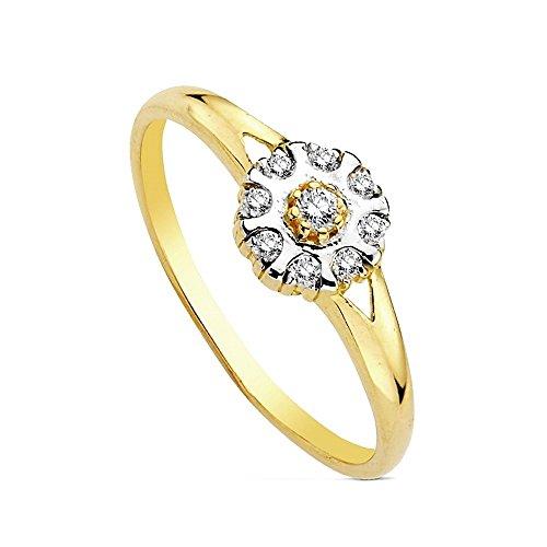 Anello in oro 18 carati bicolore Multipiedra [Ab3123]