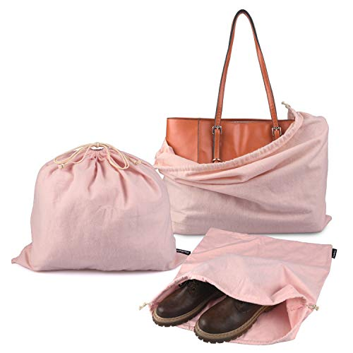 PlasMaller Dust Cover Storage Bags Purified 100% Cotton Flannel with Drawstring Pouch For Handbags Purses Pocketbooks Shoes Boots Set of 3 (Pink)