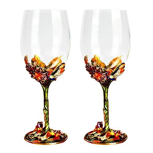 Vaso de cristal de 350 ml para vino, esmalte floral, para esposa, madre, día de San Valentín, día de la madre, boda, niña en cumpleaños (verde lu mei to Drink (caja de regalo)