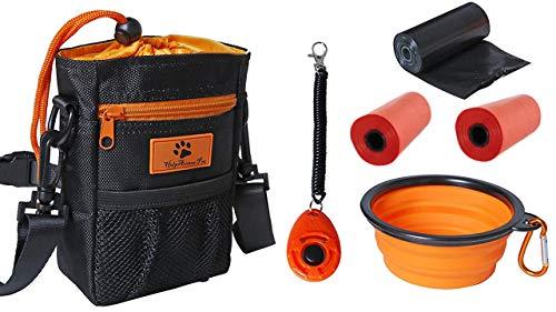 Helpaccess 6er Set Hunde Futterbeutel, Umhänge-, Hüfte-, und Bauchtasche inkl. Silikon faltbar Napf, Hund Clicker und Kotbeutel Rolle.