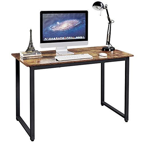 Yaheetech Mesa Ordenador Mesa Escritorio para Oficina Estudio Despacho Casa Estilo Industrial Montaje Simple Color Marrón Rústico 120 x 60 x 75,5 cm