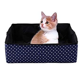 Boîte à litière pour Chat, Boîte à litière pour Animaux de Compagnie imperméable Pliable portatif pour Animaux Easy Clean Kitty Litière Pan Boîte de Toilettes pour Chat lit Nest House(Bleu)
