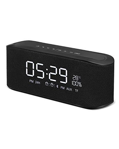 ELEGIANT Bluetooth Lautsprecher, Blutooth Box mit Uhranzeige+FM Radio+2 Wecker+TF Karte/AUX IN Bass...