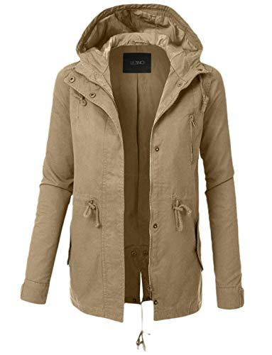 SHOWNO Women's Plus Size Hoodie Solid Windbreaker Mid Length Fall Trench Coat Jacket Khaki 3XL