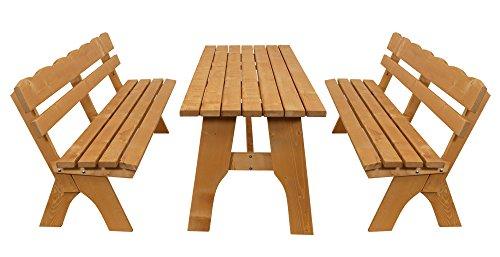 DEGAMO Gartengarnitur Freital XXL 3-teilig 200cm, 2X Bank 200cm und 1x Tisch 70x200cm, Kiefer imprängiert