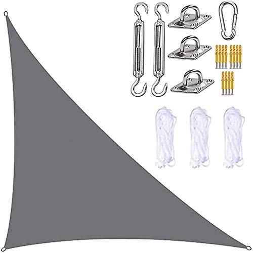 Toldo vela Vela de Sombra 3x3x3m Garden Sail Canopy Triangle, Sun Sun Shade Navega para patio al aire libre, Toldo vela de la protector solar con el kit de hardware para nadar Sombra Sombra al aire li