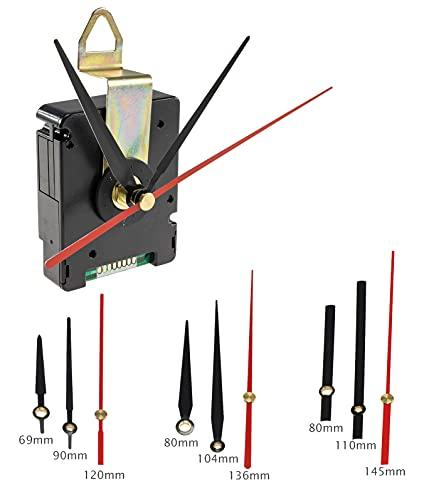 ChiliTec Funk Uhrwerk Leise schleichende Zeiger 3 Zeigersätze ohne Ticken DCF Kunststoffgehäuse geräuschlos zum Hängen Schwarz