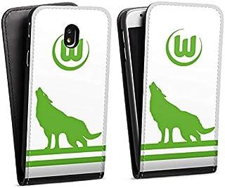 DeinDesign Flip Case kompatibel mit Samsung Galaxy J3 2017 Tasche Hülle VFL Wolfsburg Fußball Offizielles Lizenzprodukt