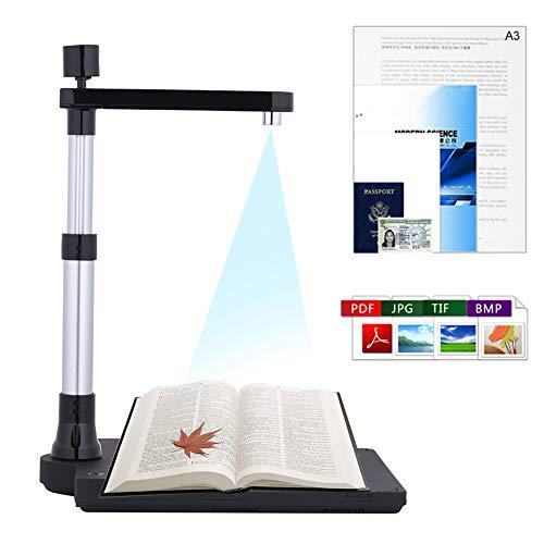 KayJery Escáner de cámara de Documentos HD Ajustable, cámara de Imagen de Libro Plegable con Doble…