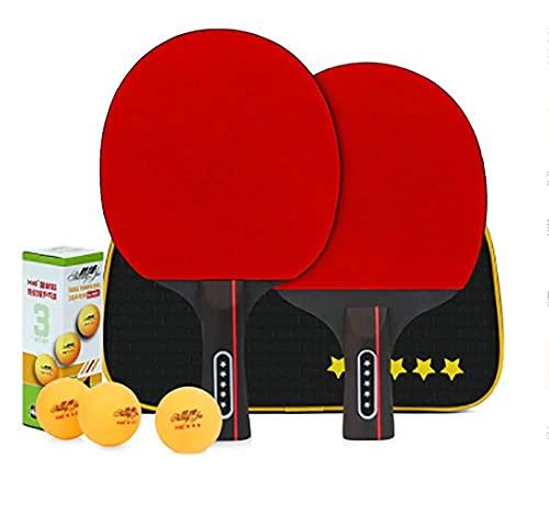 Juego de pádel de ping pong de mesa - 2 raquetas 3 bolas profesional de tenis de mesa de recreo | Paquete de raquetas para juegos familiares en casa-I