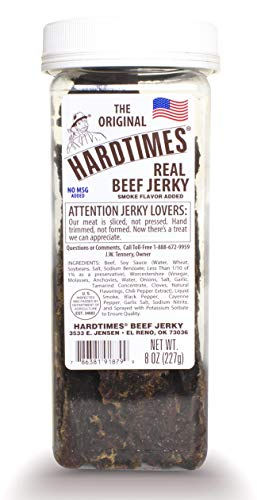Hard Times 8oz Jar Original Real Beef Jerky Sliced Hand Trimmed Dry Tough Jerky For HardTimes