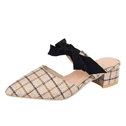 MRULIC Damen Mode Spitze Zehe Quadratische Ferse Müßiggänger Freizeitschuhe Sandale Schuhe Arbeitsschuhe(Beige,EU-35/CN-36)
