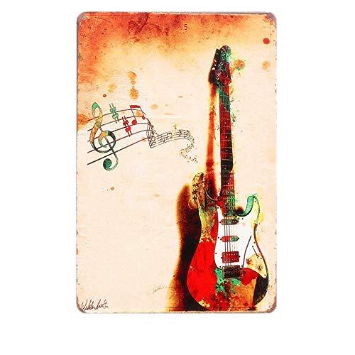 Jinlyp Country Musique Rock Guitare rétro métal étain Signe Art Affiche café Bar décor à la Maison Plaque Plaque en métal 1