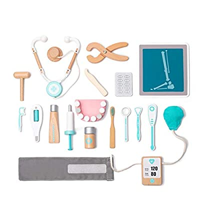 umu Wooden Kids Doctor Playset for Toddlers, Pretend Toy 18 Pieces Dentist Toolbox Medical Kit for 3, 4 and 5 Year Old Girls and Boys