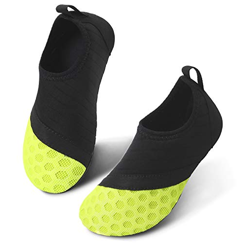 JIASUQI Barefoot Athletic Beach Water Shoes for Kids Boys Girls Black Yellow 3-4 M Toddler