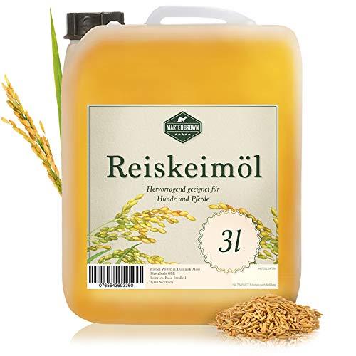 Martenbrown® Reiskeimöl für Pferde, Hunde und Esel im 3 Liter Kanister (raffiniert) für Muskelaufbau   Nahrungsergänzung für Trockenfutter, Dosenfutter oder als Barf-Öl