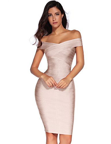 meilun Women's Rayon Off Shoulder Bandage Bodycon Party Dress