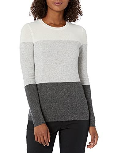 Lark & Ro Women's Crewneck Pullover Cashmere Sweater, Ivory/Light Heather Grey/Charcoal,Large