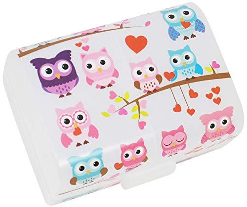 """com-four® Brotdose\""""Eulen\"""" für unterwegs - Lunchbox mit 3 Fächern - Frühstücksbox 17 x 13 x 10 cm (001 Stück -\""""Eulen\"""")"""