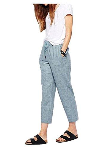 Durcoo Women's Summer Linen Drawstring Elastic Waist Ankle Pants Pockets Blue XL US 6