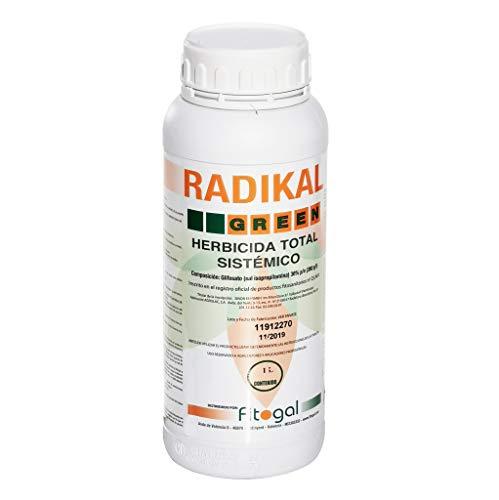 Fitogal Radikal Green Ultra Plus. 1 Litro. Herbicida Profesional Apto para jardineria domestica de acción Total sistémico no Residual para el Control de malezas. Glifosato Concentrado 36%