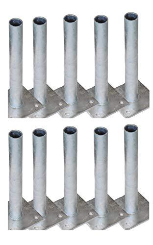 10 Pfostenträger Pfostenhalter Pfostenhülsen für Ø 34 mm Rundpfosten Maschendraht Zaunpfosten zum schrauben anschrauben dübeln für festen Untergrund wie Beton oder Mauer