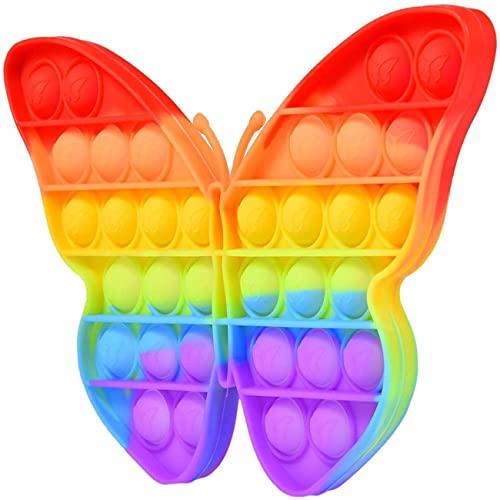 ALLCLEARANCEUK Push Pop, Pop It Fidget-Spielzeug, einzigartige Form, sensorisches Spielzeug, Herz / Hase / Bär / Blume, Zappelspielzeug mit Quetschblasen, mehrfarbig (Regenbogen-Schmetterling)