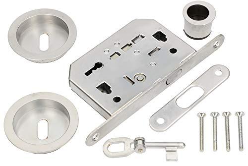 KOTARBAU® Set di serrature a gancio per porte scorrevoli con chiave, rosette con maniglia, argento cromato