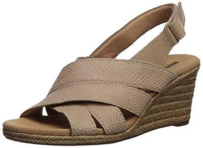 CLARKS Women's Lafley Krissy Espadrille Wedge Sandal, Sand Suede/Leather Combi, 085 M US
