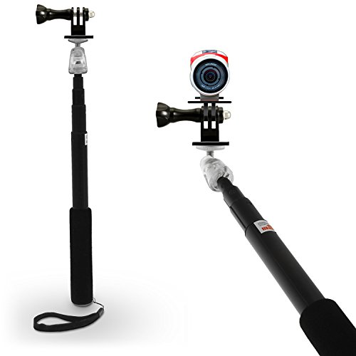 igadgitz Negro Monopod con Palillo Extensible Telescópica a Mano Autorretrato Selfie Stick con Adaptador Soporte TomTom Bandit & Móvils (TomTom...