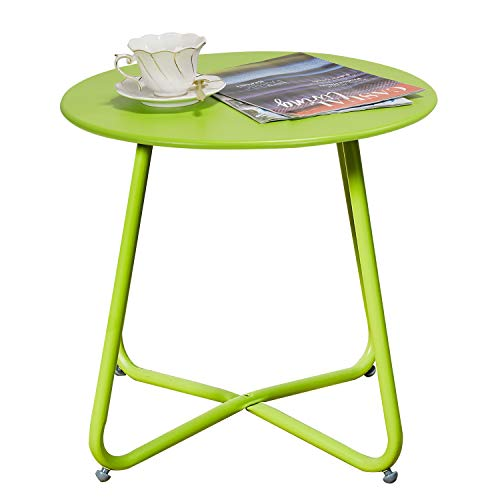 Grand patio Premium Indoor/Outdoor Round Metal Weather-Resistant Side/Accent Table for Patio, Yard, Balcony, Garden (Lime Green)