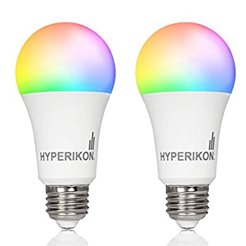 Hyperikon Smart Light Bulbs 8W=60W Work with Alexa RGB No Hub WiFi 2.4GHz Dimmable Color Changing Google Assistant 2 Pack