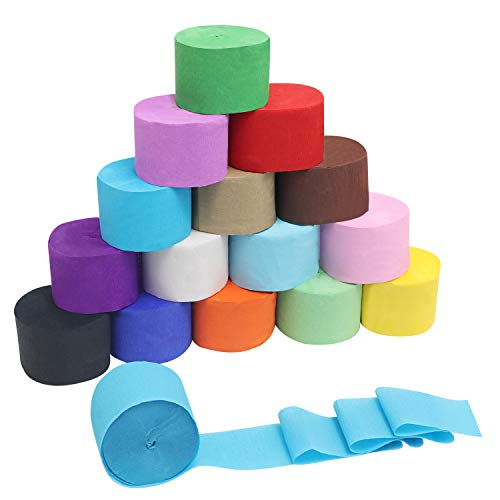 Papel Crepe (Pack de 16) - Tamaño 28m x 4,5cm - Rollos de Papel Pinocho para Manualidades Tiras 8 Colores (2 de Cada Uno) - Streamers Para Decoraciones de Cumpleaños, Bodas, Festivales y Fiestas