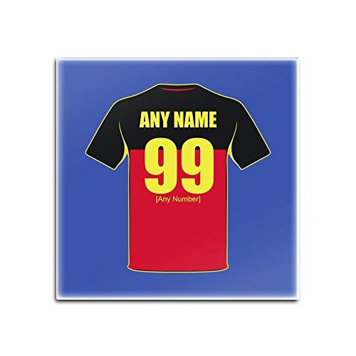 UNIREGALO - Juego de 4 posavasos cuadrados de cristal de Bélgica (diseño del equipo de fútbol) Nombre número único alfombrilla Pad – Kit camiseta Jersey Strip Championship