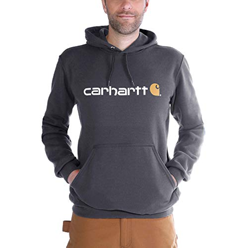 Carhartt Herren Signature Logo Midweight Sweatshirt Sweater, Carbon Heather, L