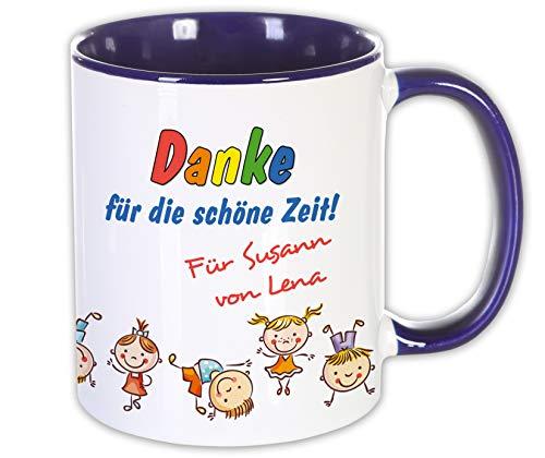 Abschieds Geschenk Kita Schule Trainer Lehrer Tasse mit Namen, Erzieherin Erzieher Kinder Danke Kindergarten (Tasse Dunkelblau)