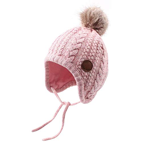 Bamery Christmas Crochet Baby Beanie Earflaps Little Girl Boy Knit Infant Hats Winter Warm Cap Lined Polyester Santa (Pink, M)