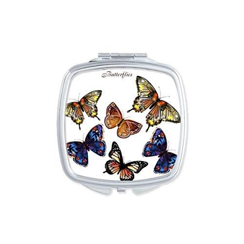 DIYthinker Bébé Rose et Bleu Papillon Collection carrée Maquillage Compact Miroir de Poche Miroirs Mignon Petit Cadeau Portable à la Main Multicolor