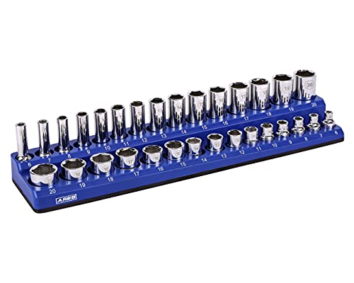 ARES 60008-30-Piece 3/8 in METRIC Magnetic Socket Organizer -BLUE -Holds 15 Standard (Shallow) and 15 Deep Sockets -Perfect for your Tool Box -Also Available in BLACK