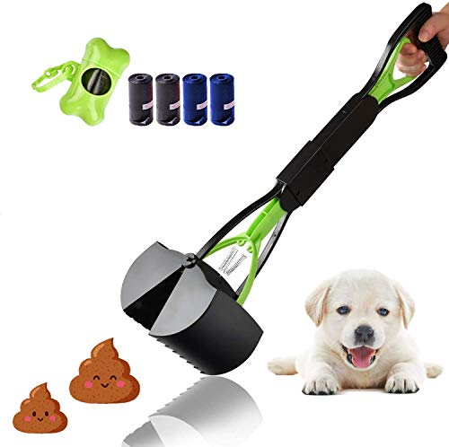 MEKEE Foldable Pet Pooper Scooper with Bag for Dogs and Cat - Plastic Long Handle Poop Scoop Set Portable Non-Breakable, Easy to Pick Up Waste from Grass Gravel and Concrete