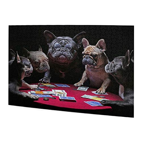 Vizor Jigsaw Puzzle 500 Pieces Funly French Bulldogs Playing Cards Wooden Puzzle for Adults Kids Educational Fun Game Intellectual Decompressing Interesting Puzzle