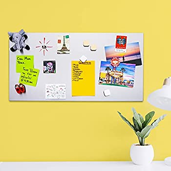 Stainless Steel Magnetic Board 23.25 x 12 x 0.7 Inches - Metal Display Board for Magnet Collection Organization Dry Erase Bulletin Spice Tins - Includes 4 Screws and Protective Packaging