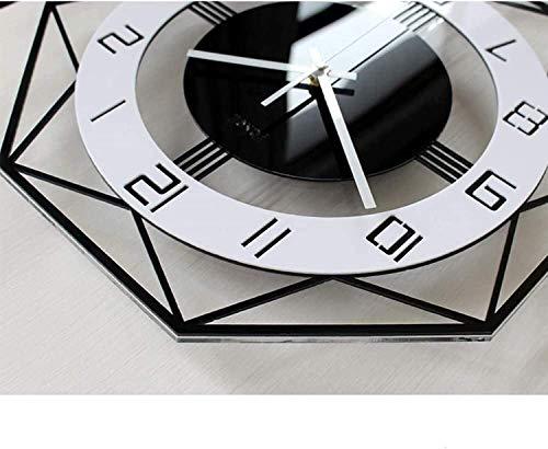 ZBJJ Reloj de Pared de polígono Blanco y Negro Tabla de Reloj Europea Sala de Estar Cuarto de Cuarzo Creativo Reloj de Pared Moderno Reloj de Pared Grande Batería (Size : L 45x56cm)