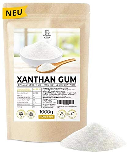 Xanthan Gum 1000g + 10% extra Vorteilspaket | Abgefüllt+Kontrolliert in Deutschland | Xanthan Pulver Low Carb - Glutenfrei - Bindemittel - Vegan - Excellente Premiumqualität 1100g