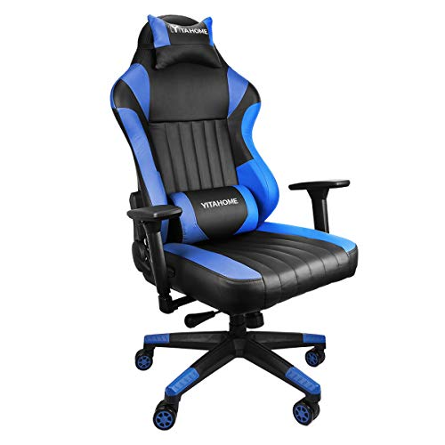 YITAHOME Big and Tall 400lb Memory Foam Gaming Chair-Adjustable Tilt(Blue) blue chair gaming
