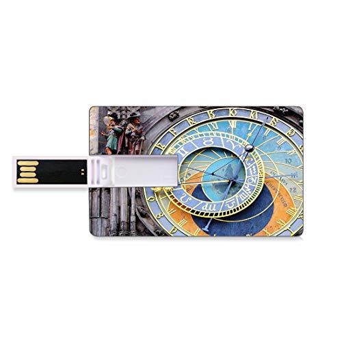 128G Unidades Flash USB Flash Reloj Forma de Tarjeta de crédito bancaria Clave Comercial U Disco de Almacenamiento Memory Stick El Reloj astronómico de Praga en el Casco Antiguo,un Monumento Medieval