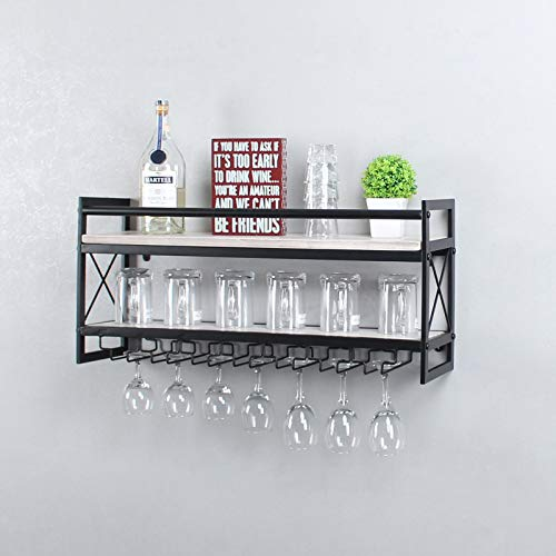 OISSIO Industrial Stemware Rack Wall MountedWine Rack with Wood Shelves2 Tier Stemware Storage with 7 Stem Glass Holder for Wine GlassesMugsHome DecorRetro White30 inch