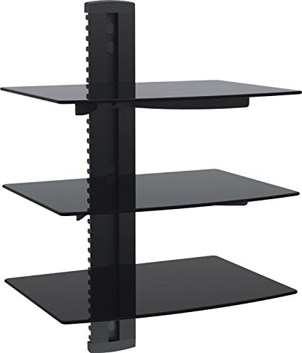 WALI Floating Shelf with Strengthened Tempered Glass for DVD Players, Cable Boxes, Games Consoles, TV Accessories (CS203), 3 Shelf, Black